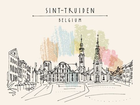 Sint-Truiden Main Square, Belgium, Europe. Travel sketch. Hand drawing. Vintage hand drawn touristic Belgium postcard, poster, booklet background. Artistic vector illustration Иллюстрация
