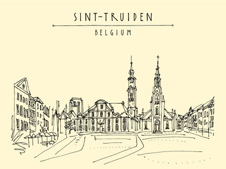 Sint-Truiden Main Square, Belgium, Europe. Travel sketch. Hand drawing. Vintage hand drawn touristic Belgium postcard, poster, booklet background. Artistic vector illustration Ilustração