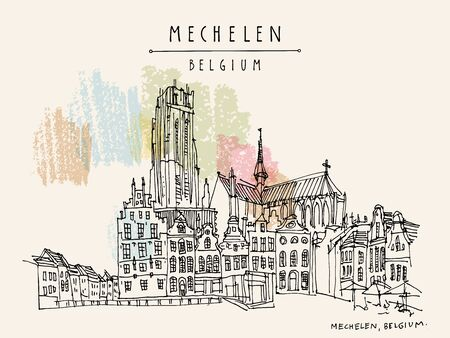 Belgium, Europe.  St. Rumbolds Cathedral on Grote Markt. Hand drawn travel postcard. Travel sketch. Hand drawing of Mechelen. Vintage hand drawn Belgium postcard. Vector illustration Illustration