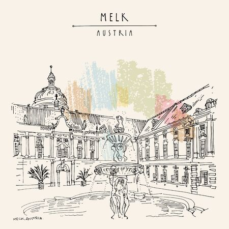 Melk, Lower Austria. Austria, Europe. Fountain at Prelate's Courtyard in Melk Benedictine Abbey. Hand drawing. Travel sketch. Vintage touristic postcard, poster, brochure or book illustration. Vector 免版税图像 - 128735344