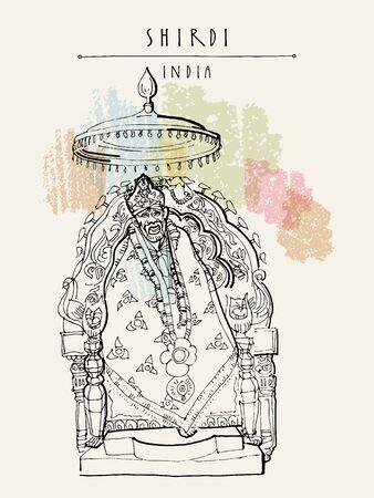 Shirdi, Maharashtra, India. Sai Baba temple. Travel sketch art. Vintage hand drawn postcard in vector Illustration