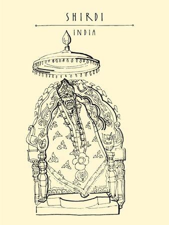 Shirdi, Maharashtra, India. Sai Baba temple. Travel sketch art. Vintage hand drawn postcard in vector Ilustrace
