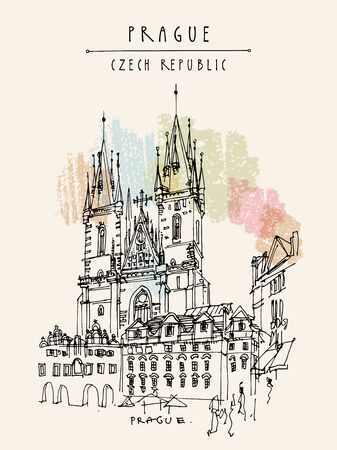 Prague, Czech Republic, Europe. The Tyn Church (Church of Our Lady before Tyn), a dominant feature of the Old Town of Prague, Czech Republic. Travel sketch. Hand drawn vintage touristic postcard in vector Illustration