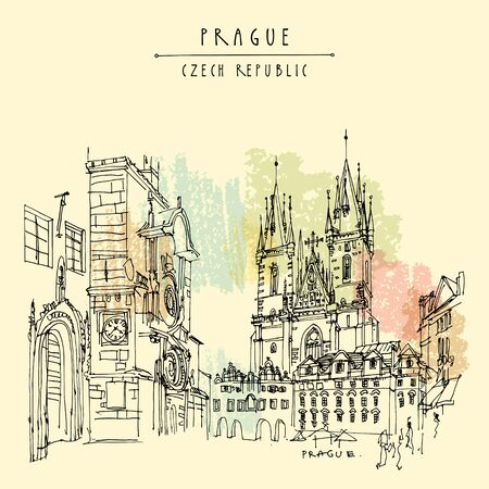 Prague, Czech Republic, Europe. Orloj (The Prague Astronomical Clock) and the Tyn Church. Travel sketch. Hand drawn vintage touristic postcard, poster, book or calendar illustration in vector