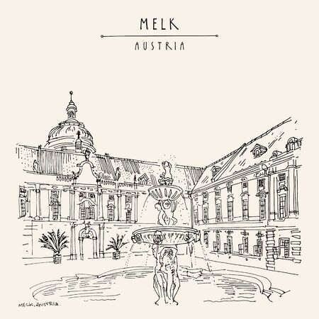 Melk, Lower Austria. Austria, Europe. Fountain at Prelates Courtyard in Melk Benedictine Abbey. Hand drawing. Travel sketch. Vintage touristic postcard, poster, brochure or book illustration. Vector