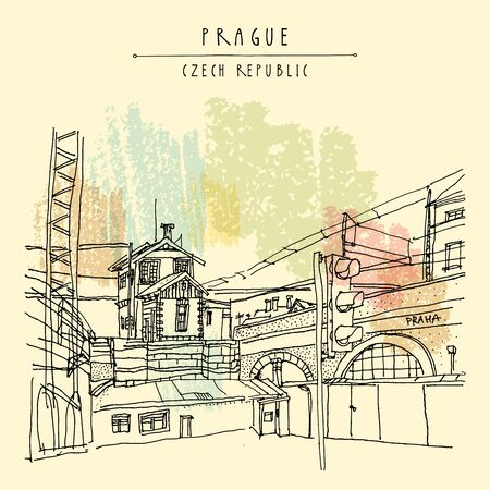 Prague, Czech republic, Europe. Artistic hand drawn illustration of old industrial buildings near bus station. Steam punk postcard or poster template, book illustration in vector