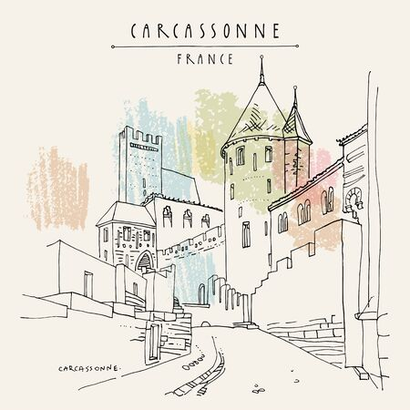Carcassonne castle, Occitanie, France, Europe. France's second-most popular tourist attraction. Retro style hand drawing. Travel sketch. Vintage touristic postcard, poster, book illustration in vector