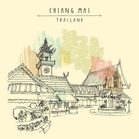 Chiang Mai, Thailand. Historical railway station. Train station was open in 1921, destroyed by bombs from Allied forces in 1943, rebuilt in 1945, reopened in 1948. Hand drawn vintage postcard. Vector