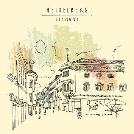 Heidelberg, Germany, Europe. Town square with side walk cafes in the old town. Travel sketch of vintage street and baroque buildings. Vintage hand drawn postcard. EPS10 vector illustration Foto de archivo - 130148725