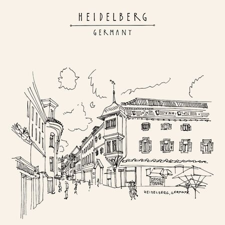 Heidelberg, Germany, Europe. Town square with side walk cafes in the old town. Travel sketch of vintage street and baroque buildings. Vintage hand drawn postcard. EPS10 vector illustration