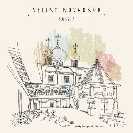 Veliky Novgorod (Novgorod the Great), Russia. Cathedral of the Virgin of the Sign (Znamensky Cathedral). Architectural  travel sketch. Hand drawn touristic postcard.