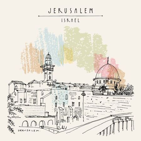 Jerusalem, Israel. Wailing wall. Travel sketch. Hand drawn touristic postcard, poster, calendar or book illustration. Jerusalem city view postcard with hand lettering in vector Çizim