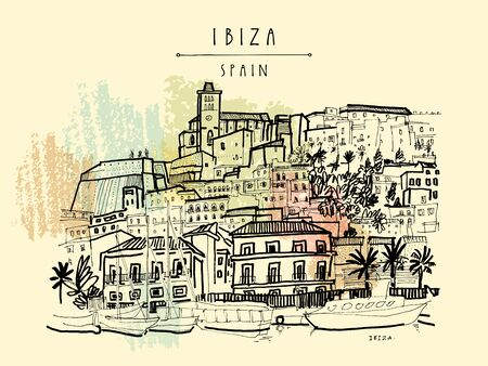 Ibiza Town Old city, Balearic islands, Spain, Europe. Ibiza castle. Historical buildings. Travel sketch. Hand drawn vintage book illustration, greeting card, postcard, poster.