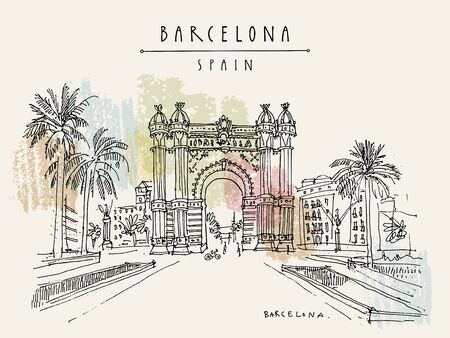 Barcelona, Catalonia, Spain. Arc de Triomf (Triumphal Arch) in the Neo-Mudejar style and palm trees. Travel sketch. Hand drawn vintage touristic postcard, poster, book illustration Ilustrace