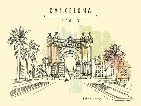 Barcelona, Catalonia, Spain. Arc de Triomf (Triumphal Arch) in the Neo-Mudejar style and palm trees. Travel sketch. Hand drawn vintage touristic postcard, poster, book illustration.