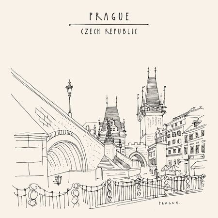 Prague, Czech Republic, Europe. Charles Bridge (Karluv Most). Prague famous landmark. Retro travel sketch. Hand drawn vintage touristic postcard, poster, book illustration. Artistic drawing in vector
