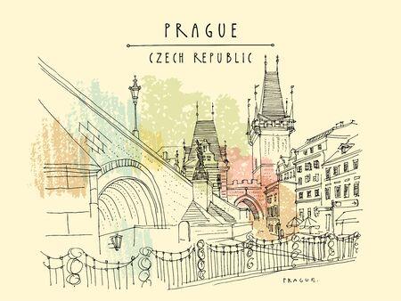 Prague, Czech Republic. Charles Bridge (Karluv Most). Prague famous landmark. Travel sketch. Horizontal hand drawn vintage touristic postcard, poster, artistic drawing illustration. Vektorové ilustrace