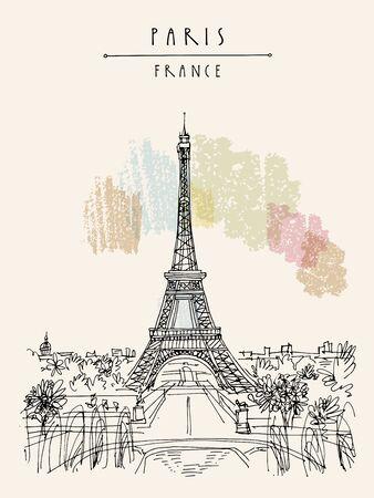 Paris, France, Europe. Eiffel Tower. French famous landmark. Hand drawing. European travel sketch. Vertical vintage hand drawn touristic postcard, poster, brochure illustration. EPS10 vector art
