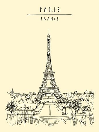 Paris, France, Europe. Eiffel Tower. French famous landmark. Hand drawing. European travel sketch. Vertical vintage hand drawn touristic postcard, poster, brochure illustration. EPS10 vector art