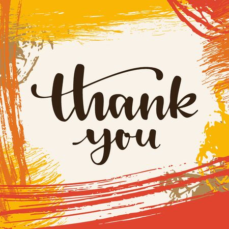 Thank you. Thanksgiving greeting card. Modern calligraphic hand drawn greeting card with brush ink strokes and hand drawn scribbles. Autumn colored artwork, print, artistic EPS10 vector illustration Ilustração