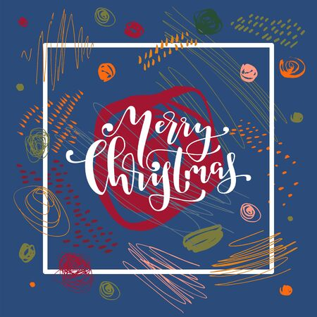 Merry Christmas calligraphic postcard on blue background. Contemporary creative hand drawn Christmas lettering greeting card. Bouncy modern calligraphy. Holiday season vector  artistic illustration