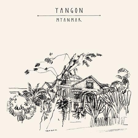 Yangon (Rangoon), Myanmar (Birma), Südostasien. Sekretariat, ein altes britisches Gebäude. Koloniale Architektur. Handgezeichnete Stadtbild-Skizze. Reisekunst. Künstlerische Postkarte der Weinlese. Vektor-Illustration