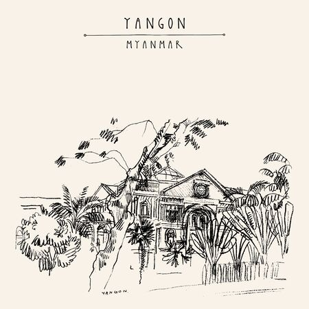 Yangon (Rangoon), Myanmar (Burma), Southeast Asia. Secretariat, an old British building. Colonial architecture. Hand drawn cityscape sketch. Travel art. Vintage artistic postcard. Vector illustration