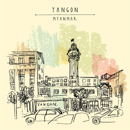 Yangon (Rangoon), Myanmar (Burma), Southeast Asia. The Central Fire Station on Sule Pagoda Road. Colonial architecture. Hand drawn cityscape sketch. Travel art. Vintage artistic vector postcard