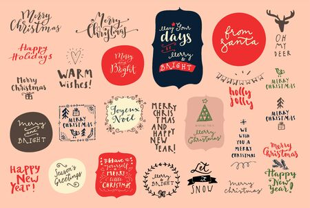 Vintage set of Merry Christmas and Happy New Year vintage hand drawn logos, badges and phrases for gift tags, stickers, patches, postcards, posters. Modern calligraphic artwork  in vector