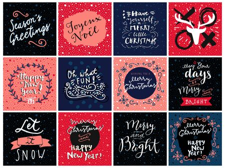 Set of hipster hand drawn Merry Christmas and Happy New Year greeting cards in vector. May Your Days Be Merry and Bright, Seasons Greetings, Xoxo, Oh What Fun, Joyeux Noel, Let It Snow