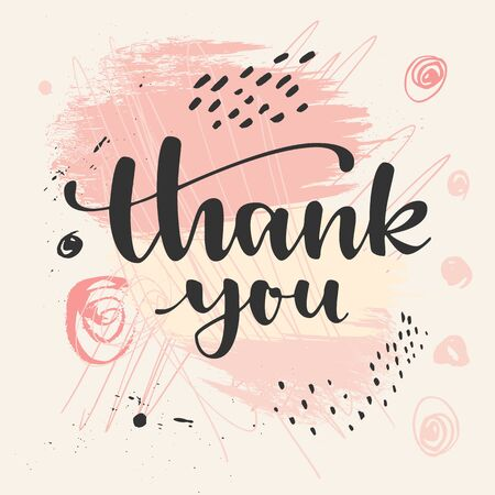 Thank you. Thanksgiving greeting card. Modern calligraphic hand drawn greeting card with brush strokes and hand drawn scribbles. Pastel ink colored artwork, print, artistic vector illustration Stockfoto - 133811717