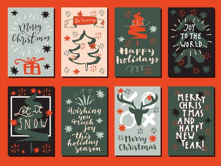 Merry Christmas, Happy New Year, Let It Snow and Happy Holidays vintage hand drawn greeting cards, gift tags, postcards, posters in vintage colors. Calligraphic artwork vector illustration.