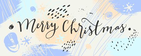 Merry Christmas horizontal calligraphic banner. Light blue hand drawn horizontal banner template. Pale winter colors design. Creative contemporary winter background. Vector illustration, mixed media Stockfoto - 134156227