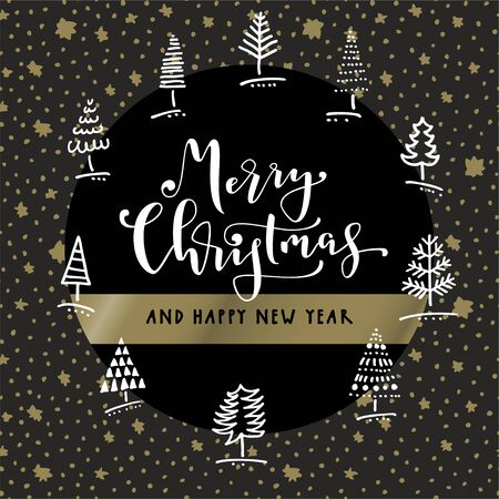 Merry Christmas and Happy New Year. Doodle hand drawn greeting card in black, white and gold with winter trees, seamless pattern stars background and hand lettering in vector