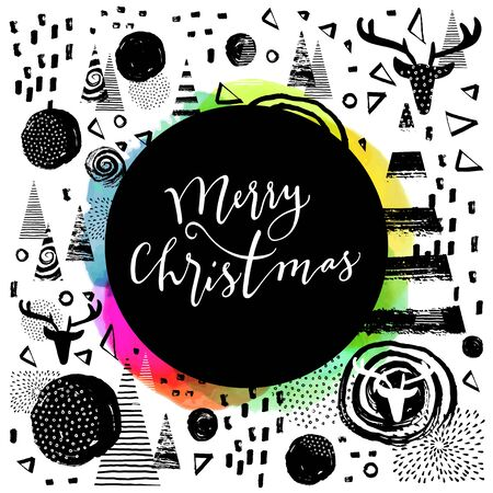 Merry Christmas modern calligraphic hand lettered greeting card. Modern calligraphy. Trendy abstract graphic design, expressive ink hand drawn elements. Elegant Merry Christmas hand lettering. Vector Stockfoto - 134156229