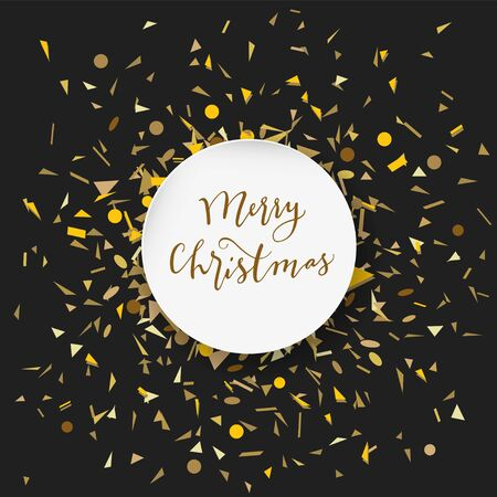 Merry Christmas calligraphic geeting card with golden confetti in round white frame on black background in vector