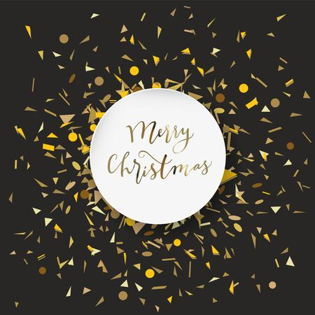 Merry Christmas calligraphic geeting card with golden confetti in round white frame on black background in vector Standard-Bild - 134156232