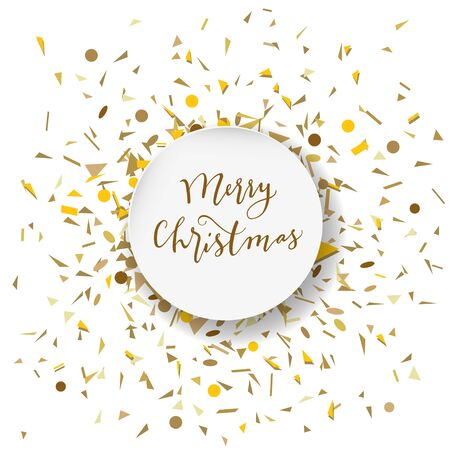 Merry Christmas calligraphic geeting card with golden confetti in round white frame on white background in vector. Mixed media