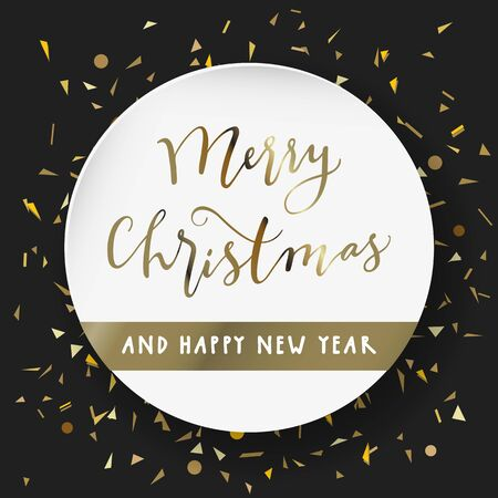 Merry Christmas and Happy New Year. Modern calligraphy lettering. Luxury holiday season greeting card in black, white, gold. Golden confetti particles scattered. Luxurious Christmas lettering vector