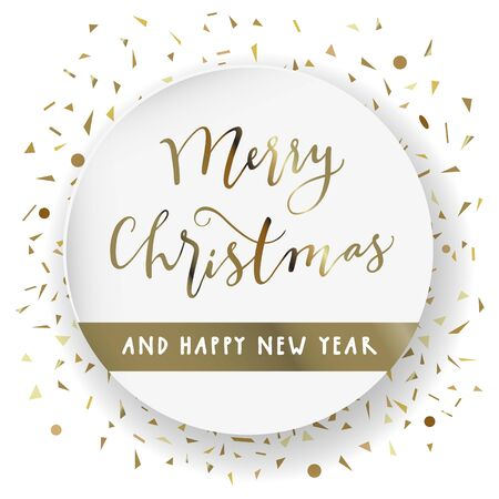 Merry Christmas and Happy New Year. Modern calligraphy lettering. Luxury holiday season greeting card in white and gold. Golden confetti particles scattered. Stockfoto - 134536672