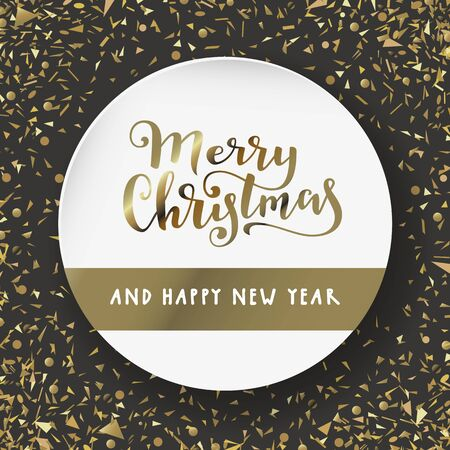 Merry Christmas and Happy New Year. Modern calligraphy lettering. Luxury holiday season greeting card in black, white, gold. Stockfoto - 134536671
