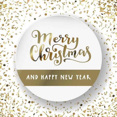 Merry Christmas and Happy New Year. Modern calligraphy lettering. Luxury holiday season greeting card in white and gold. Golden confetti particles scattered. Luxurious Christmas lettering vector Stock Illustratie