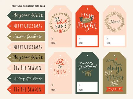 Printable personalized Merry Christmas gift tags. Holiday season vintage design with modern calligraphy, typography, lettering. Traditional Christmas artistic design. Vector illustration Stockfoto - 134637763