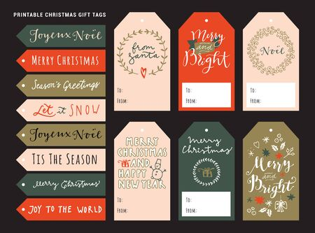 Printable personalized Merry Christmas gift tags. Holiday season vintage design with modern calligraphy, typography, lettering. Traditional Christmas artistic design. Vector EPS10 illustration Standard-Bild - 134551556