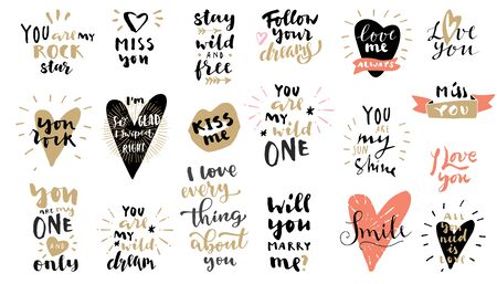 Set of Love vintage hand drawn quotes in black, pink and gold colors on white background. For postcards, photo overlays, greeting cards, T-shirts, bags in retro style. Vector  calligraphic artwork