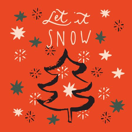 Let It Snow. Merry Christmas and Happy New Year vintage hand drawn greeting card, postcard, label, sticker, badge on red background with stars. Calligraphic art. vector illustration Standard-Bild - 134637758