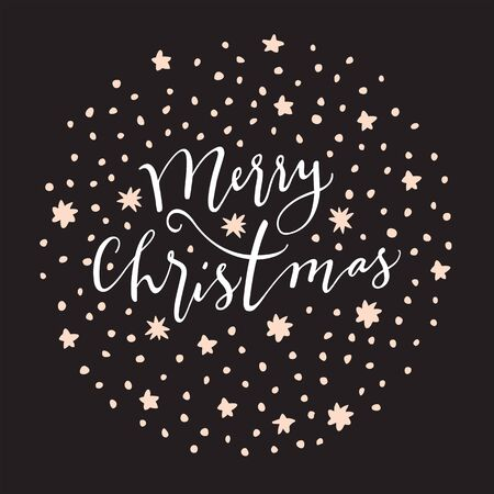 Merry Christmas. Holiday Season vintage hand drawn greeting card, postcard, label, sticker, badge on black background with stars. Calligraphic art. EPS10 vector illustration Standard-Bild - 134613310