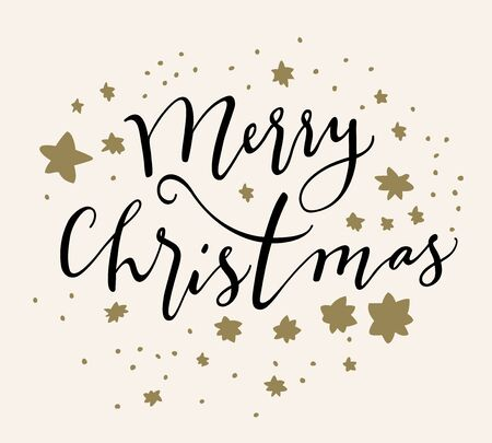 Merry Christmas calligraphic card with hand drawn stars on white background. Artistic illustration Stock Illustratie