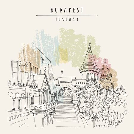 Budapest, Hungary. Fisherman's Bastion (Halaszbastya) in Buda Castle on Buda Hill. Neo-Romanesque lookout terraces. Architectural hand drawing. Travel sketch. Book illustration. Vintage touristic postcard, poster in vector Standard-Bild - 135186247