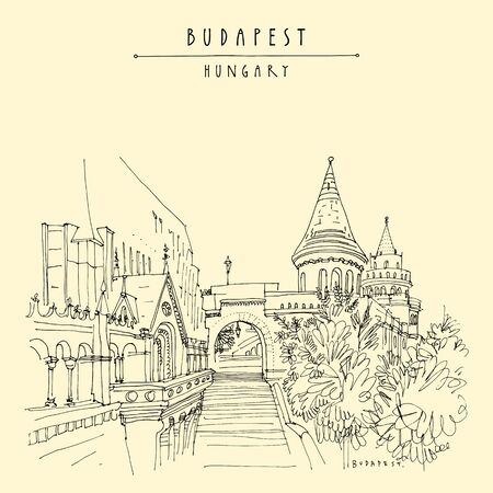 Budapest, Hungary. Fisherman's Bastion (Halaszbastya) in Buda Castle on Buda Hill. Neo-Romanesque lookout terraces. Architectural hand drawing. Travel sketch. Book illustration. Vintage touristic postcard, poster in vector